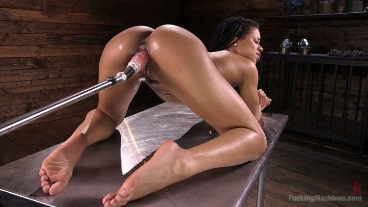 machines Ebony spitroast fucking miniskirt