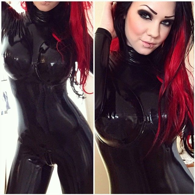 Oiled latex girlfriend shared