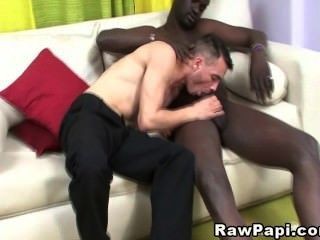 Watching party dark haired monster cock